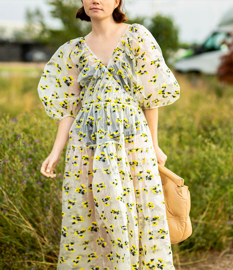 white and transpaprent Voluminous dress with yellow patterned flowers